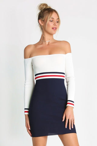 Fashion Navy White Off Shoulder Marine Dress