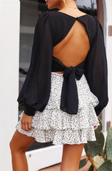 Elegant Black Deep V-Neck Crop Top Back Tie-Up with Puffy Sleeve