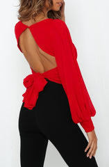Elegant Red Deep V-Neck Crop Top Back Tie-Up with Puffy Sleeve