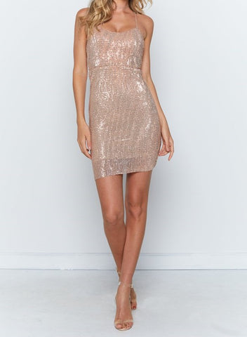 Elegant Strap Rose Gold Sequence Bodycon Dress