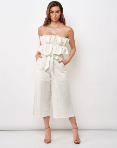 Elegant Strapless White Tie-Up Ruffle Crop Jumpsuit