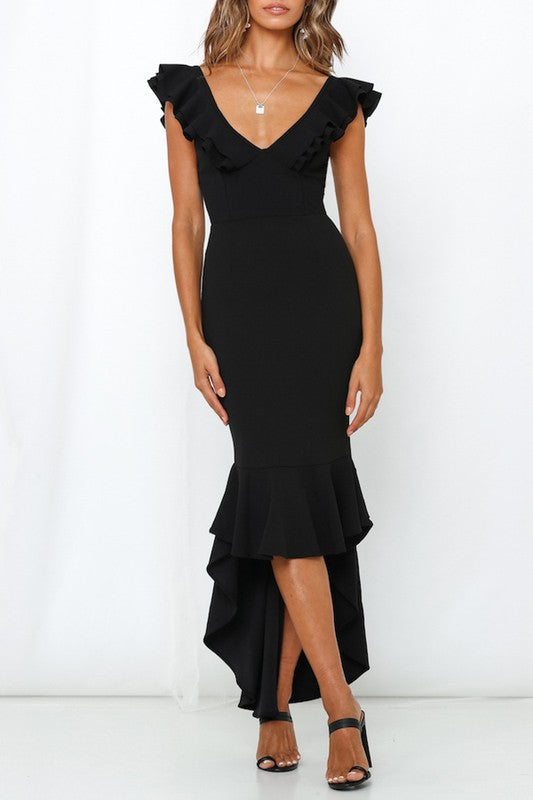 Elegant V-Neck Black High Low Ruffle Open Back Sleeveless Dress
