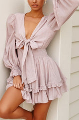 Fashion Blush Deep V-Neck Tie-Up Ruffle Dress with Long Sleeve