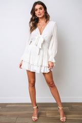 Fashion White Deep V-Neck Tie-Up Ruffle Dress with Long Sleeve