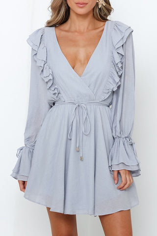 Fashion Grey Ruffle V-Neck Dress with Band Long Bell Sleeve Detailed