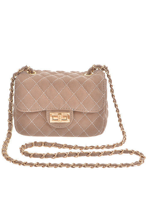 Fashion Beige Clutch with Quilted Detail