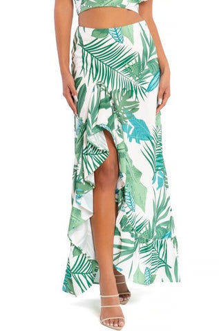 Fashion White Green Tropical Print High Waisted Ruffle Maxi Skirt with Middle Slit