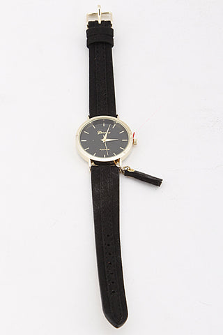 Elegant Black Watch with Tassel Charm Detail
