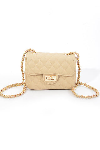 Fashion Beige Gold Clutch with Quilted Detail