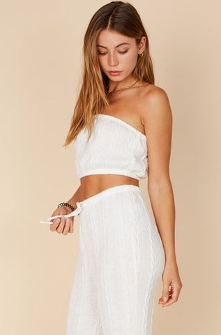 Fashion White Strapless Crochet Crop Top