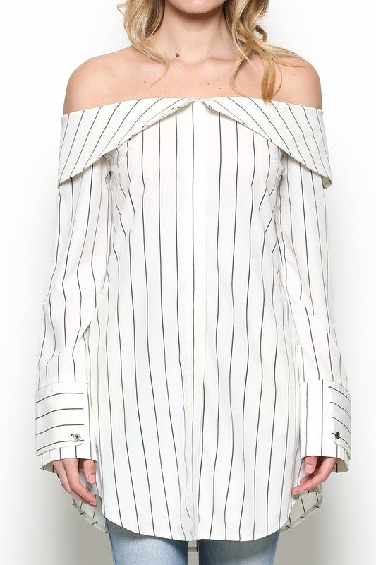 6b88c894522 Elegant Off Shoulder Striped White Shirt Dress – EDITE MODE