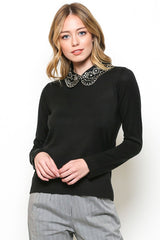 Elegant Black Long Sleeve Sweater with Floral Embroidery Detailed Neck