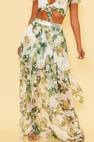 Elegant White Multi-Color Floral Print High Waisted Layered Ruffle Maxi Skirt