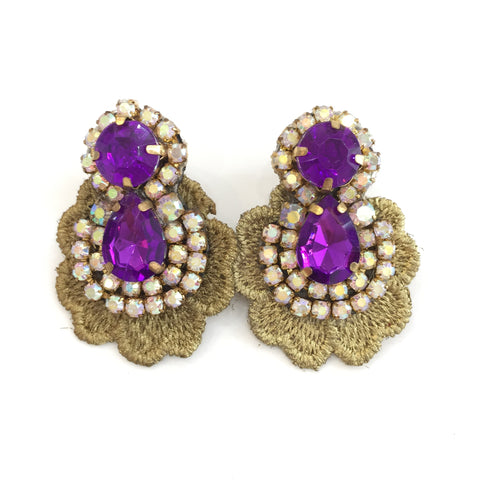 Fashion Designer Purple Crystal Gold Lace Earrings