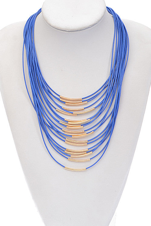 Fashion Blue Gold Rope Detail Necklace