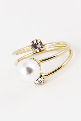 Pearl Swirl Ring with Rhinestone