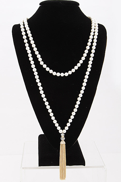 Elegant Pearl Layer Necklace with Tassel