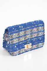 Fashion Blue Handbag with Stitched Detail