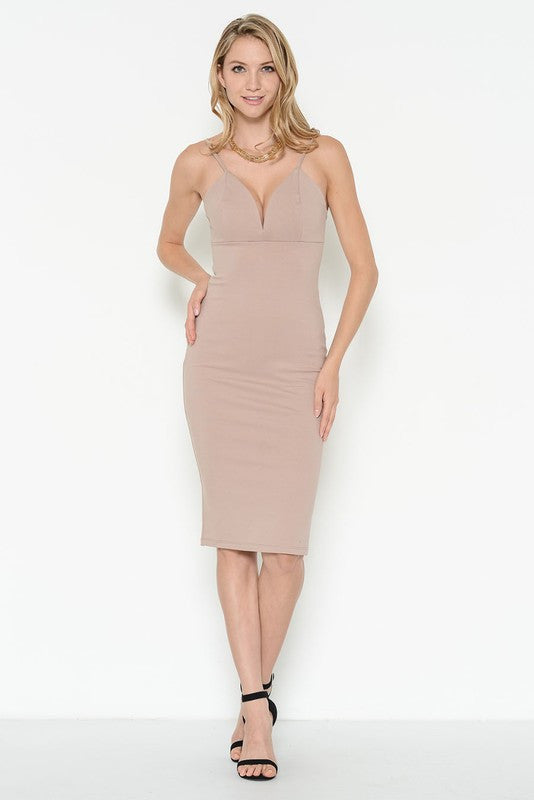 Ponti Verona Deep Neck Fitted Beige Dress – EDITE MODE 6963587f1