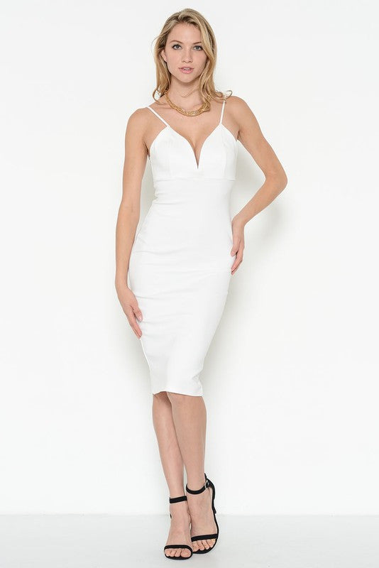 Ponti Verona Deep Neck Fitted White Dress