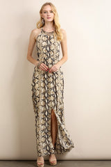 Elegant Animal Print Maxi Dress