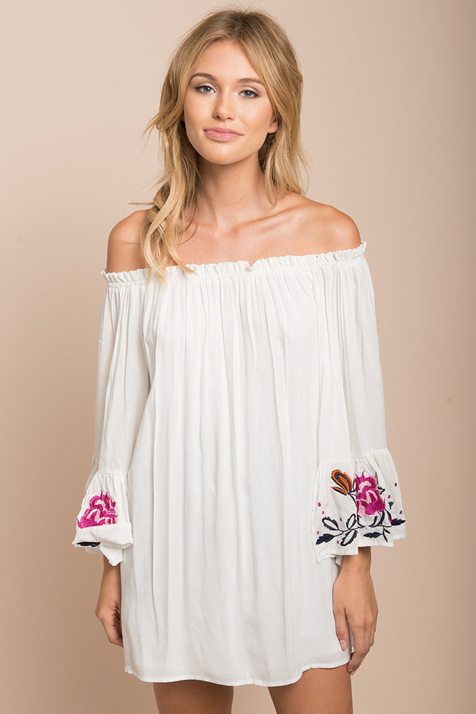 Summer Off Shoulder Bell Sleeve Embroidery Top White Dress