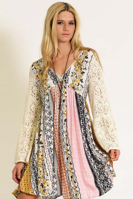 Casual Bell Sleeve Lace Bohemian Dress