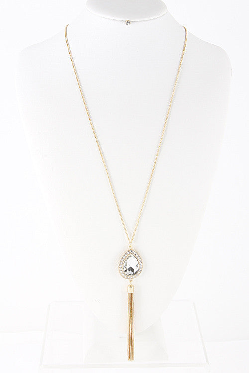 Gold Necklace with Circle Stone and Tassel