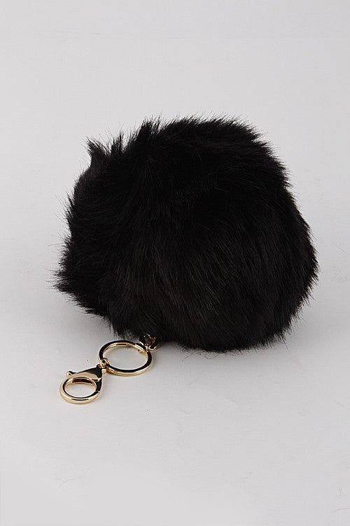 Black Mink Pom Pom Gold Key Chain