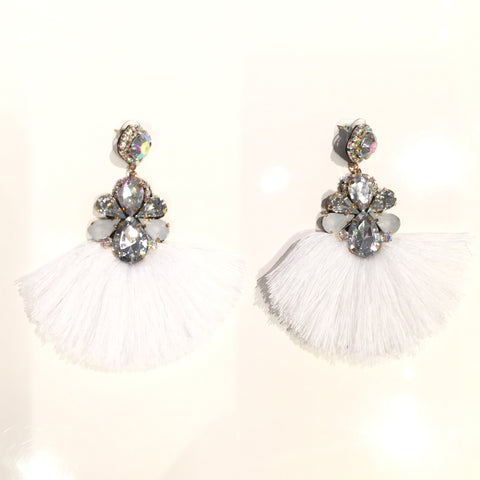 Fashion White Tassel Designer Long Fringe Grey and Silver Crystal Earrings