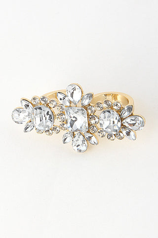 Rhinestone Floral Double Finger Ring