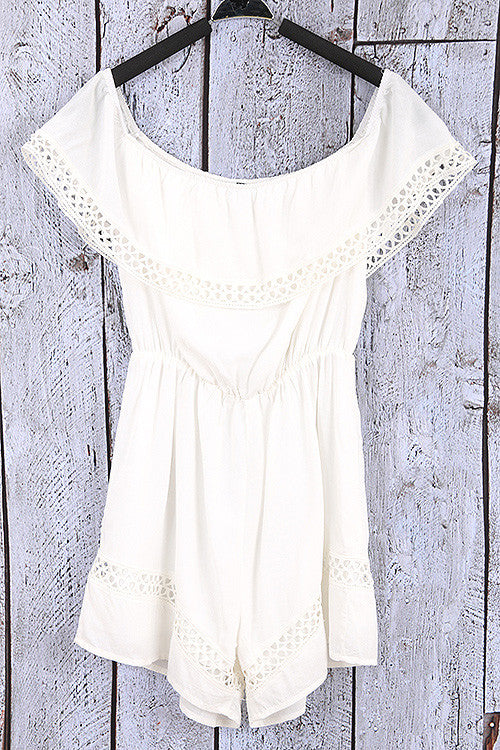 Casual Off Shoulder White Ruffle Romper