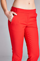 Elegant Fitted Red Pants