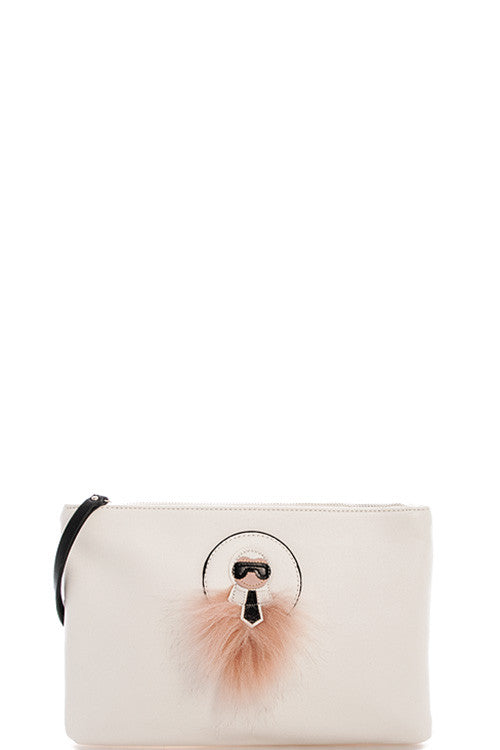 Fashion Chic White Clutch with Long Strap