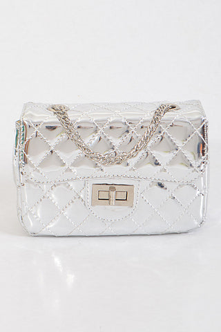 Fashion Silver Handbag with Quilted Detail