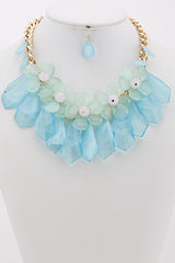 Summer Mint Flower Crystal Statement Necklace Set