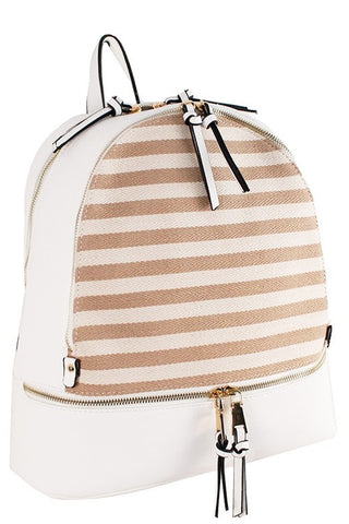 Fashion White Backpack with Striped Patterns