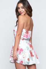 Fashion Strapless Grey Rose Floral Print Ruffle Dress