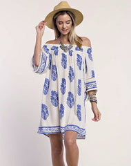 Casual Off Shoulder Ivory Dress with Blue Print
