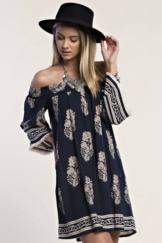 Casual Off Shoulder Navy Dress with Mocha Print
