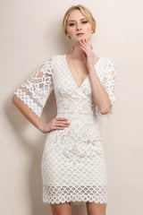 White Bell Sleeve Lace Dress