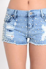 Fashion Shorts Pearl Ripped Blue Denim