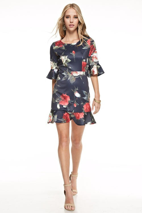 Floral Cocktail Flare Sleeve Navy Dress