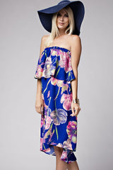 Strapless Floral Royal Blue Summer Dress