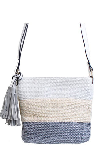 Casual Grey Straw Fabric Messenger Bag