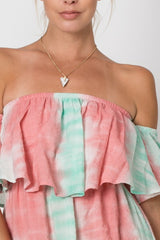 Summer Peach Mint Off Shoulder Dress
