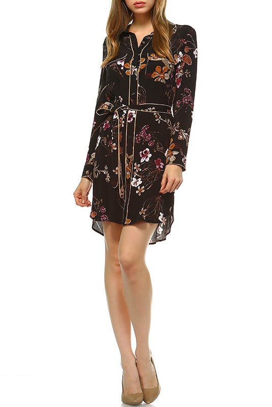 Elegant Floral Print Black Shirt Dress