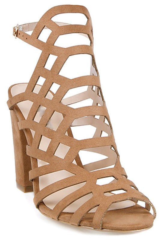 Fashion Geometric Beige Chunky Heels