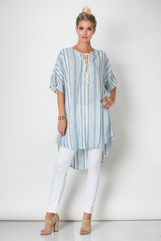 Resort Casual Blue Tunique Dress