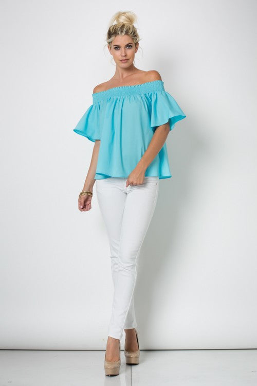 Resort Off The Shoulder Aqua Elastic Band Top